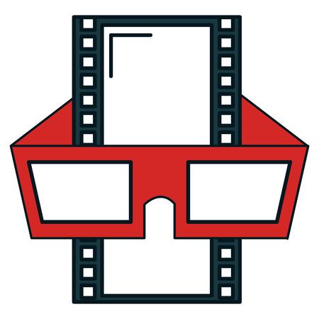 old photo: tape film with glasses 3d vector illustration design Illustration