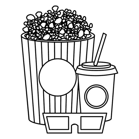 pop corn with soda and glasses 3d vector illustration design