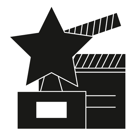 sports equipment: star trophy with clapper board vector illustration design