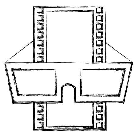 rectangle: tape film with glasses 3d vector illustration design Illustration