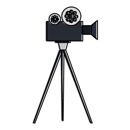 film video camera with tripod vector illustration design