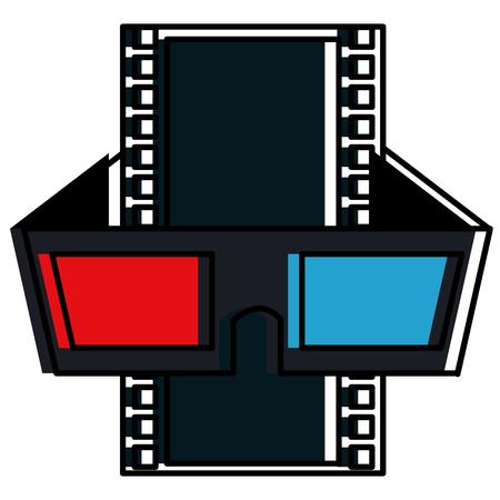 tape film with glasses 3d vector illustration design Çizim