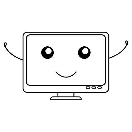 lcd display: computer display  character vector illustration design Illustration