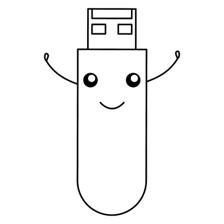 usb memory character vector illustration design