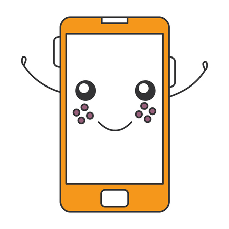 smartphone device character vector illustration design