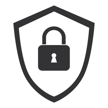 shield with safe padlock isolated icon vector illustration design 向量圖像