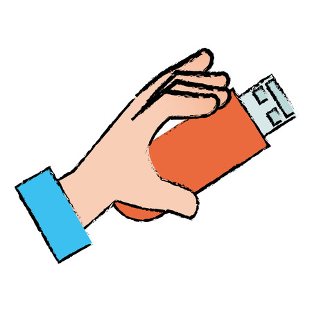 hand human with usb memory isolated icon vector illustration design