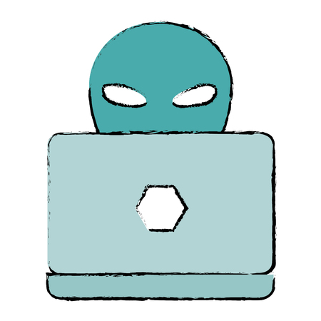 alien with laptop icon vector illustration design Illustration