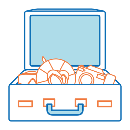 travel suitcase with sandals and float vector illustration design