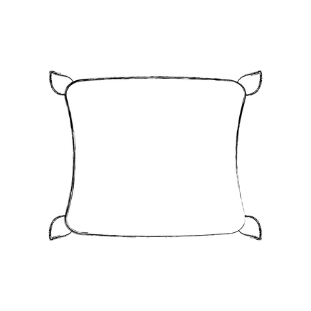 Outlined illustration of comfortable pillow cushion bedroom cloth.