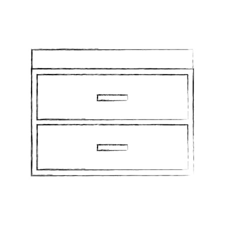 Outline illustration of wooden chest of drawers furniture material modern style. Ilustrace