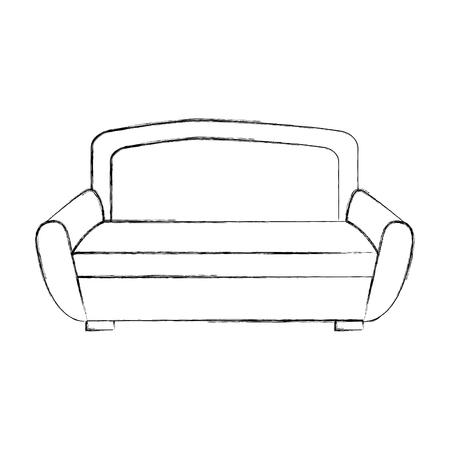 Outline illustration of sofa furniture home decor comfort element. Illustration