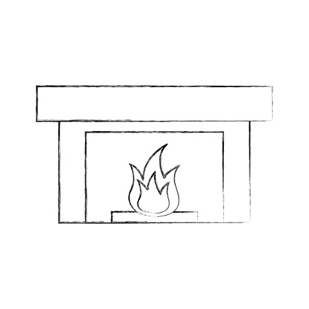 Fireplace illustration Çizim