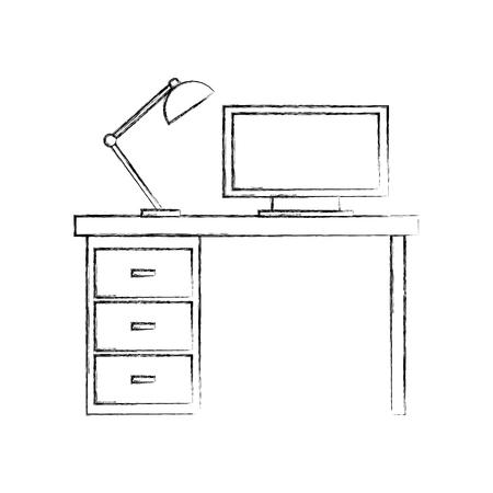 木製デスクコンピュータランプイラスト