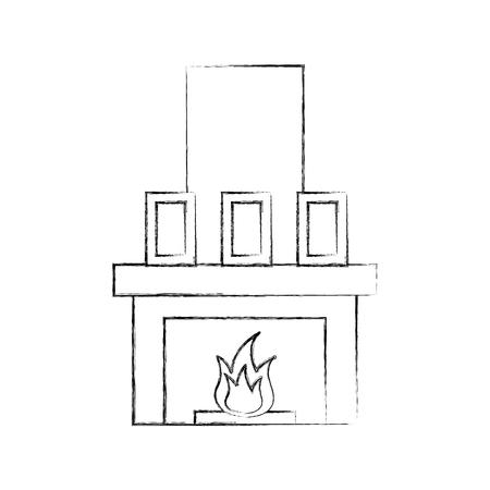 Open haard schoorsteen illustratie