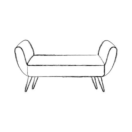 boudoir: Outline illustration of sofa divan or couch elegant furniture icon style interior.