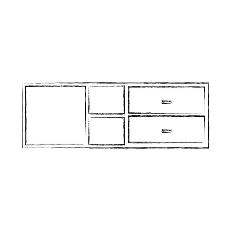 Outline illustration of wooden cabinet and shelf furniture empty.