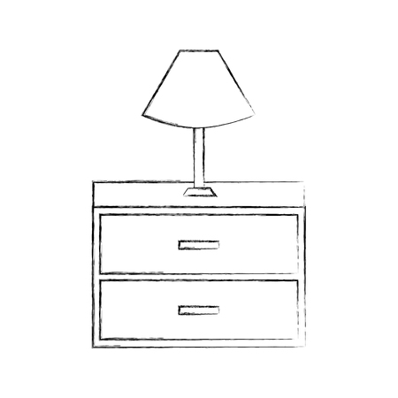Outline illustration of table lamp wooden drawers furniture for room.