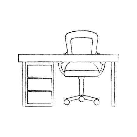나무 책상 및 안락의 자 가구 작업 개요 요소의 그림.