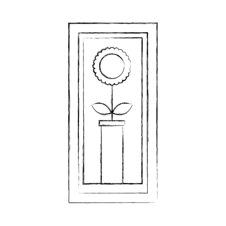 houten frame met zonnebloem in vaas decoratie interieur vectorillustratie