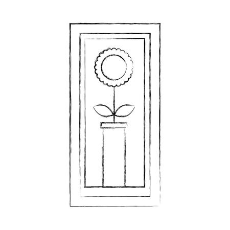 wooden frame with sunflower in vase decoration interior vector illustration 向量圖像