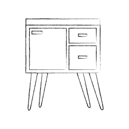Outline illustration of table drawer furniture interior decoration design element. 向量圖像