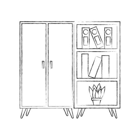 Zwart en wit kast en boekenkast pot met plant illustratie