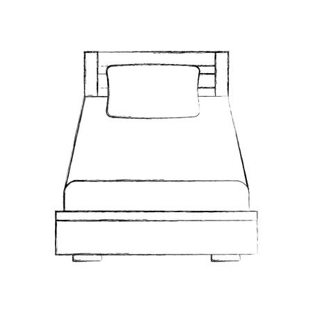 Letto di legno in bianco e nero con l'illustrazione della stanza della mobilia della coperta del cuscino Archivio Fotografico - 85783219