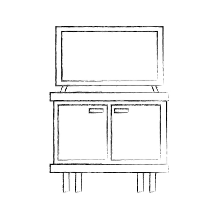 Black and white television on wooden table drawers furniture illustration 向量圖像