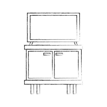 Zwart-witte televisie op houten het meubilairillustratie van lijstlades Stock Illustratie
