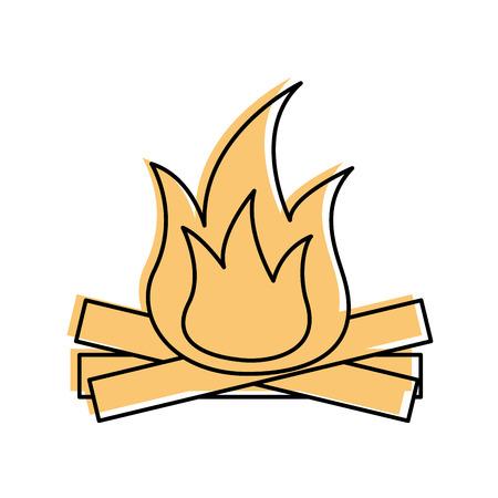 Heiße und warme Feuer Flamme aus Holz Vektor-illustration Standard-Bild - 85783229
