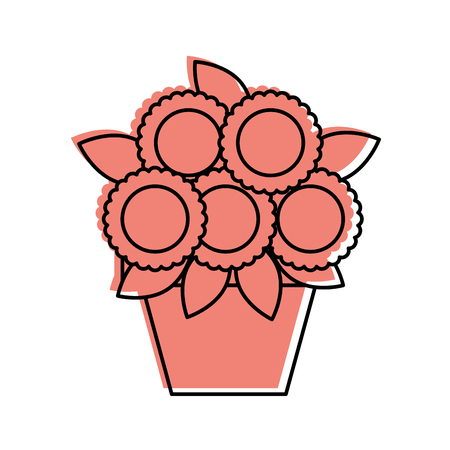 Cartoon illustration of potted flower decoration natural indoor.