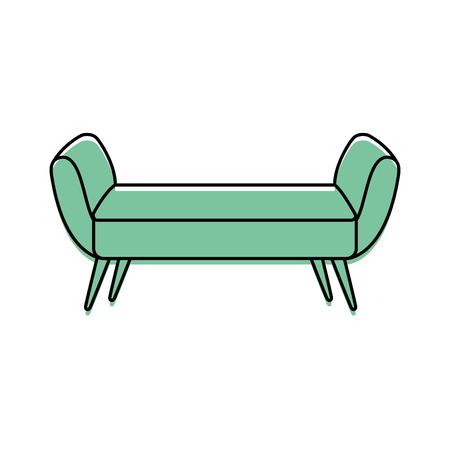 boudoir: Cartoon illustration of sofa divan or couch elegant furniture icon style interior.