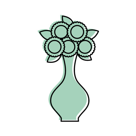 Cartoon illustration of  bunch of flowers in a vase decoration interior.