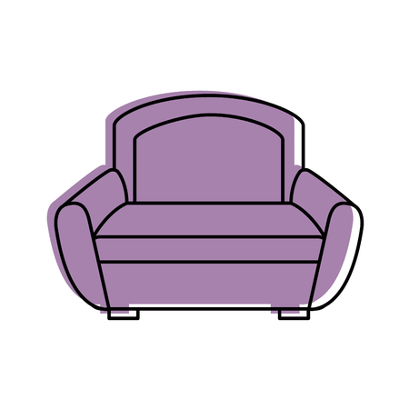Cartoon illustration of  sofa furniture home decor comfort element.