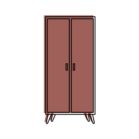 Cartoon illustration of wooden wardrobe furniture home decoration icon.