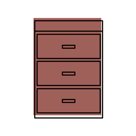 Cartoon illustration of wooden chest of drawers furniture material modern style.