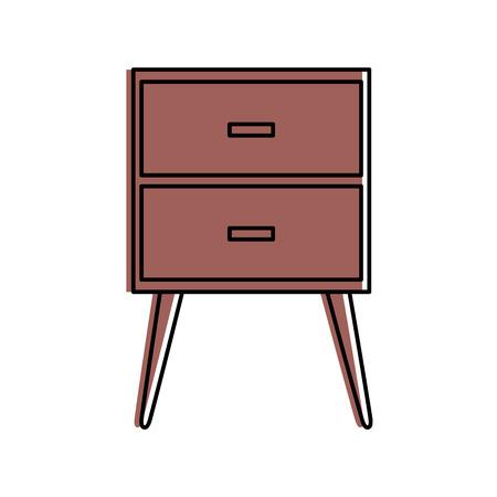 Cartoon illustration of table drawer furniture interior decoration design element.