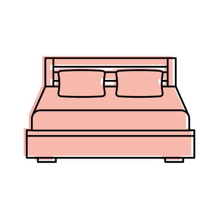 담요 침실 가구와 더블 침대와 베개의 만화 그림.