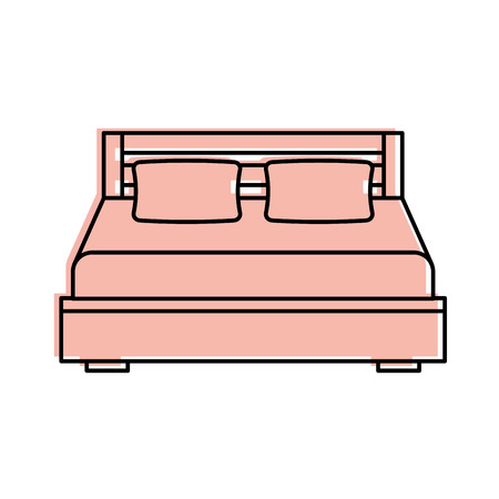 Cartoon illustration of double bed and pillow with blanket bedroom furniture. Ilustrace