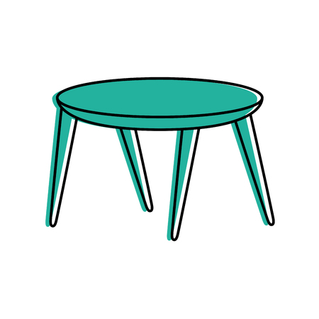 Cartoon illustration of wooden round table furniture decoration.