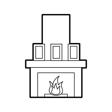 暖炉煙突炎屋内装飾ベクトルイラスト  イラスト・ベクター素材