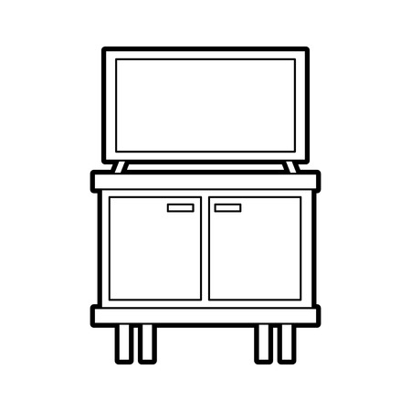 television on wooden table drawers furniture vector illustration 版權商用圖片 - 85783261