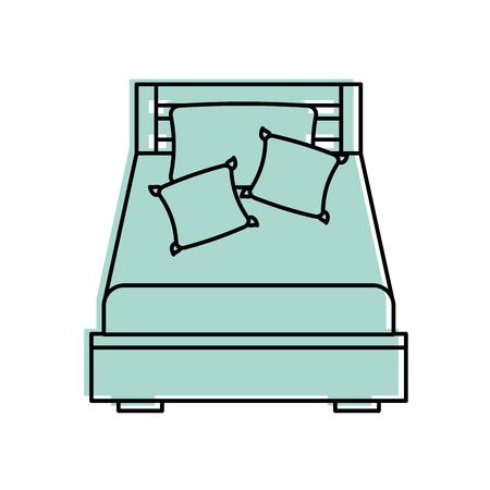 houten bed met kussen deken meubel kamer vector illustratie
