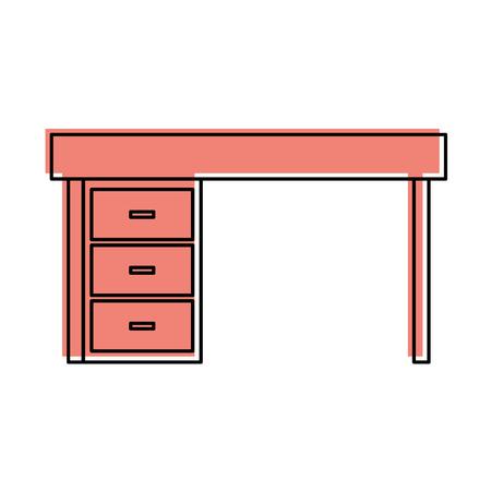furniture desk drawers wooden table design vector illustration 向量圖像