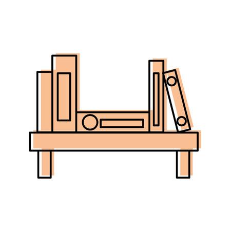 houten boekenplank map boek literatuur kantoor vectorillustratie