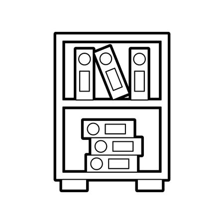 bibliotheek houten boekenkast van gestapelde boeken vectorillustratie