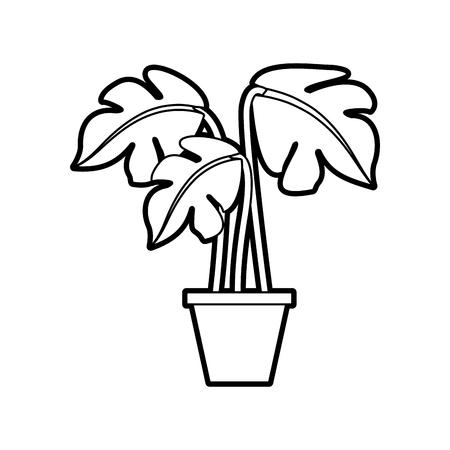 potted plant decoration interior natural element vector illustration