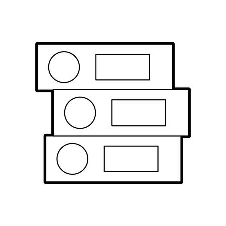 白い背景ベクトルイラスト上のクローズドオフィスバインダーフォルダファイルオブジェクト