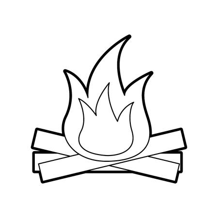 ホットと暖かい焚き火の炎木製ベクトルイラスト  イラスト・ベクター素材